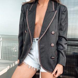 Vintage Christian Dior Wool Grey Menswear Blazer